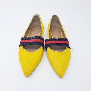 New Anthropologie Horse Hair Pointed Flats